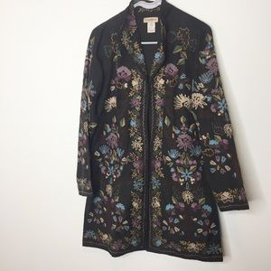 Travelsmith 100% silk embroidered floral jacket